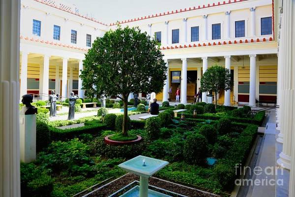 Getty Villa Photograph - Courtyard Exterior Jpaul Getty Villa Malibu Santa Monica  by Chuck Kuhn