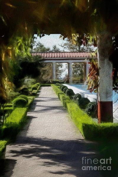 Wall Art - Photograph - Painted Texture Courtyard Landscape Getty Villa California  by Chuck Kuhn