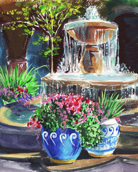 Wall Art - Painting - Courtyard With Fountain Landscape   by Irina Sztukowski