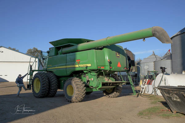 Photograph - Cousin Paul Nelson Climbs Aboard A John Deere Bullet Rotor 9770  by Jim Thompson