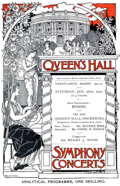 Wall Art - Drawing - Cover Of Program For Queens Hall by English School