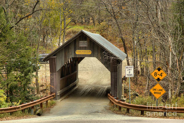 Photograph - Covered Bridge Over Gold Brook by Adam Jewell