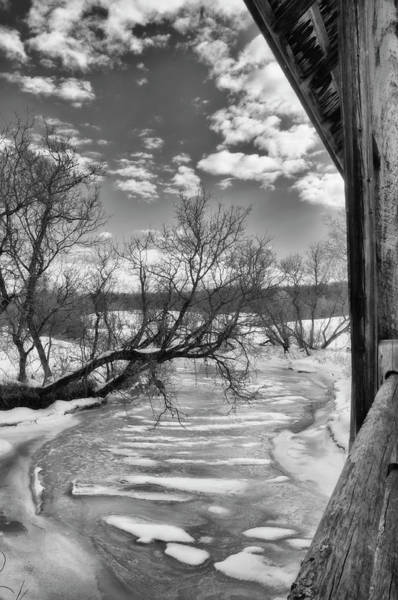 Photograph - Covered Bridge Snow Scene In Black And White by Joann Vitali