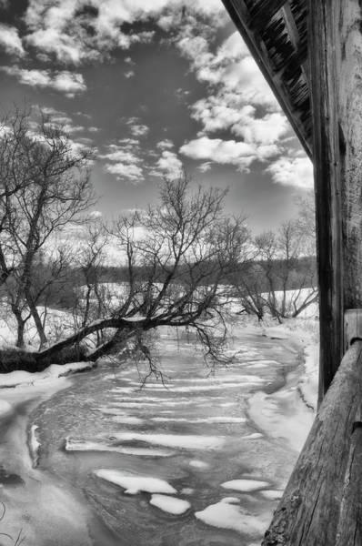 Wall Art - Photograph - Covered Bridge Snow Scene In Black And White by Joann Vitali