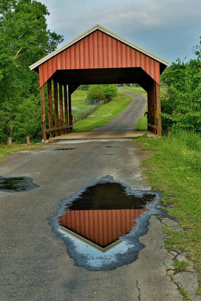 Red Covered Bridge Photograph - Covered Bridge Springtime Near Chappell by Darrell Gulin
