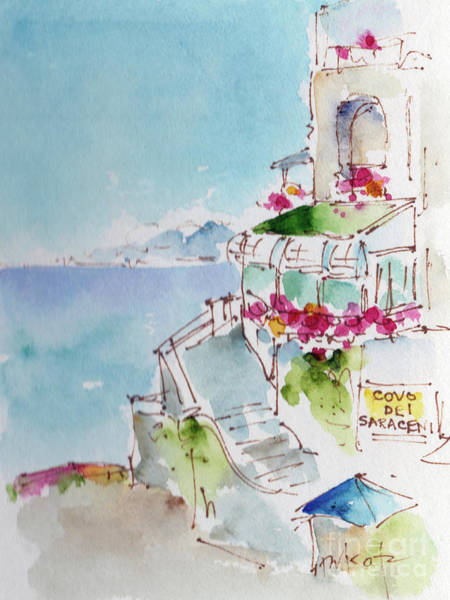 Painting - Covo Dei Saraceni Positano Italy  by Pat Katz