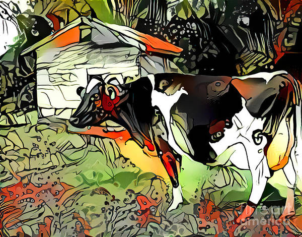 Wall Art - Mixed Media - Cow Abstract by Trudee Hunter