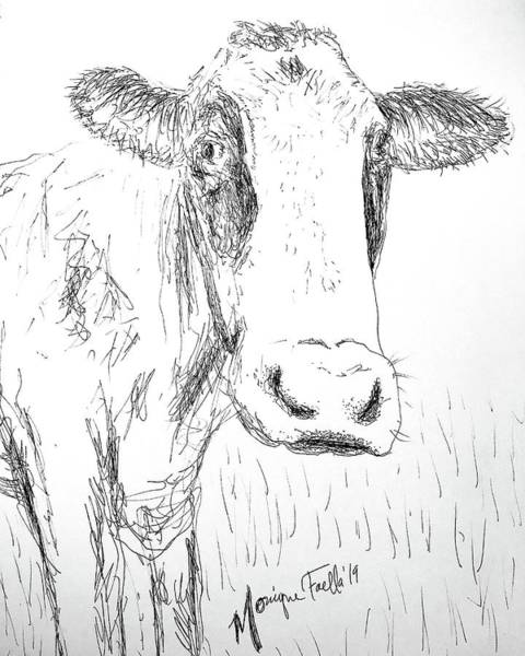 Drawing - Cow Doodle by Monique Faella