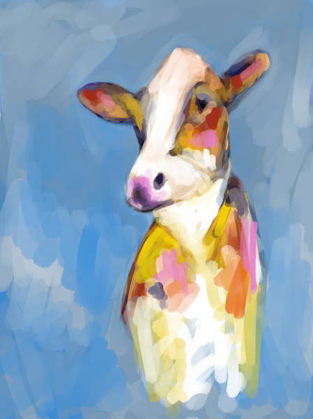 Elliott Digital Art - Cow by Elliott Aaron From