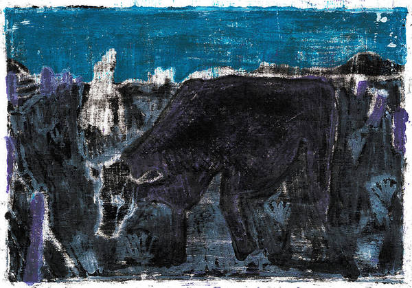Painting - Cow In A Field At Night by Artist Dot
