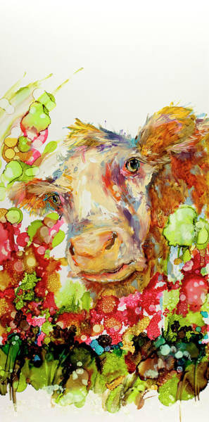 Wall Art - Painting - Cow Painting Called I Can Play Peek A Boo Til The Cows Come Home by Kim Guthrie