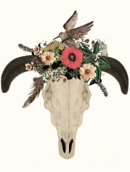 American Indians Painting - Cow Skull Flowers by Bri Buckley
