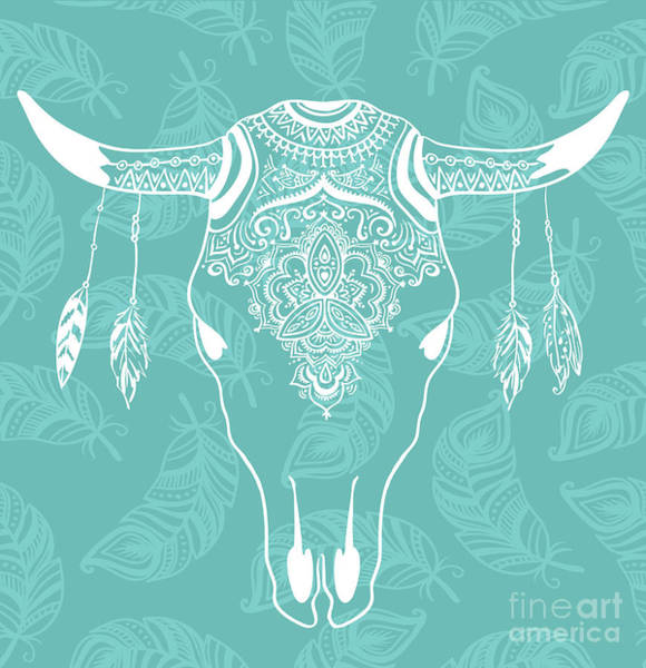 Landmark Wall Art - Digital Art - Cow Skull With Feathers Isolated On by Alenka Karabanova
