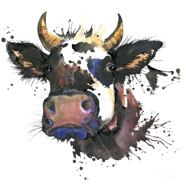 Wall Art - Digital Art - Cow Watercolor Illustration. Farm by Faenkova Elena
