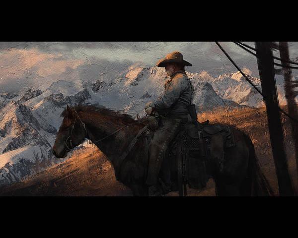 Blondie Digital Art - Cowboy American Painting by Edith Atresia