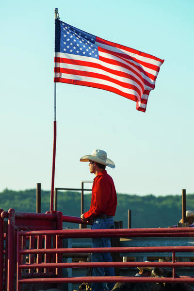 Photograph - Cowboy And American Flag by Dennis Dame