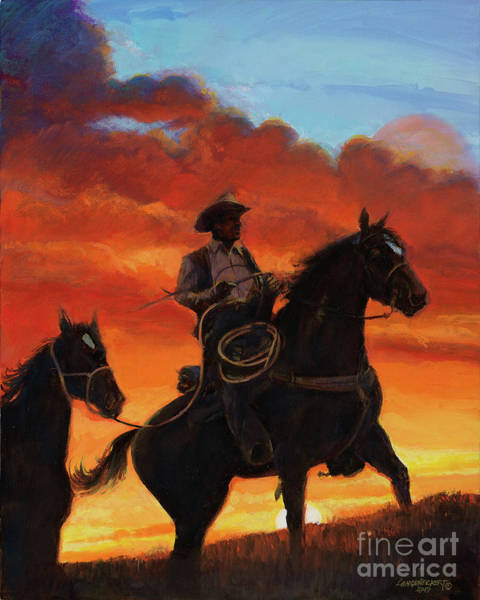 Wall Art - Painting - Cowboy At Sunset by Don Langeneckert