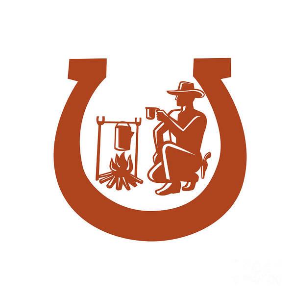 Horseshoe Digital Art - Cowboy Drinking Coffee Horseshoe Mascot by Aloysius Patrimonio