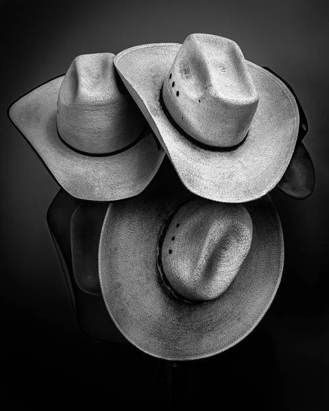 Photograph - Cowboy Hats In Black And White by James Sage