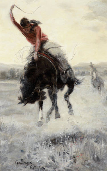 Wall Art - Painting - Cowboy On A Bronc, 1915 by E William Gollings