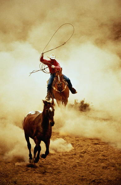Cowboy On Horse Performing In Rodeo Art Print