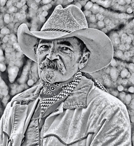 Photograph - Cowboy, Black And White by Bill Jonscher