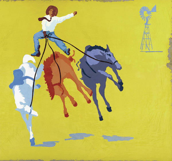 Bucking Bronco Digital Art - Cowboy Riding Bucking Broncos by Andy Bridge