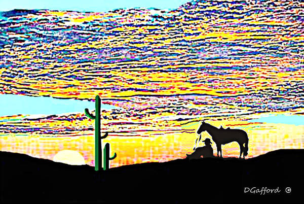Wall Art - Painting - Cowboy Sunrise by Dave Gafford