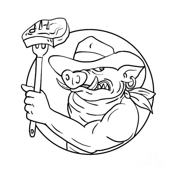 Bbq Digital Art - Cowboy Wild Pig Holding Barbecue Steak Drawing Black And White by Aloysius Patrimonio
