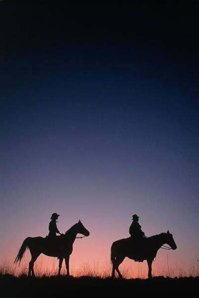 West Wales Photograph - Cowboys Riding Horses, Muleshoe Ranch by A & C Wiley/wales