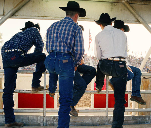 Watching Photograph - Cowboys Watching Rodeo Arena, Rear View by Reza Estakhrian
