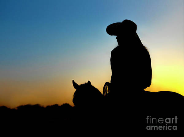 Wall Art - Photograph - Cowgirl At Sunset by Diane Diederich
