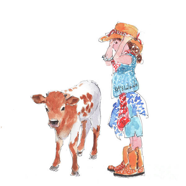 Painting - Cowgirl Meets Baby Bull  by Kathleen McElwaine