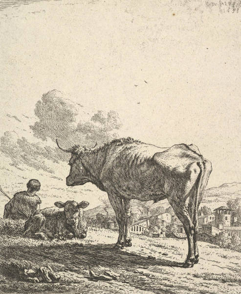 Relief - Cowherd With Cow And Calf On A Hillside by Karel Dujardin