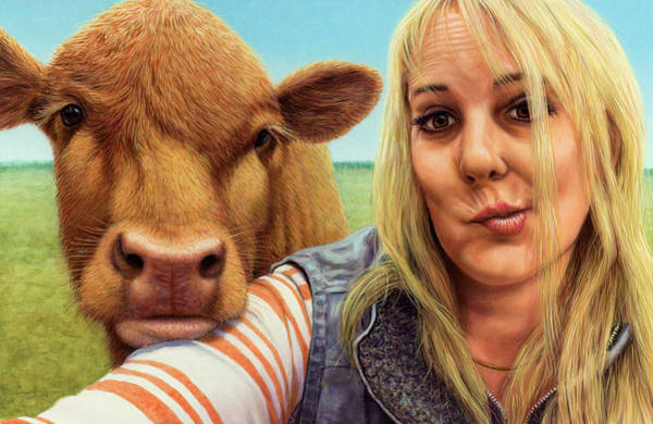Painting - Cowlove Selfie by James W Johnson