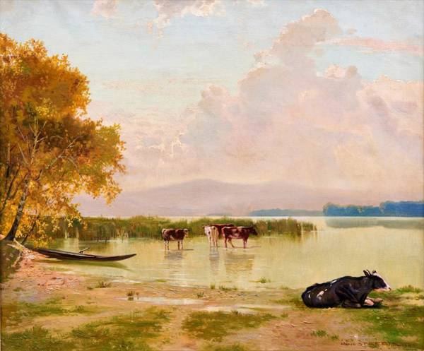 Wall Art - Painting - Cows By The Shore - Digital Remastered Edition by Toni Haller