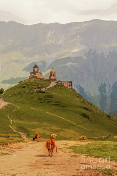 Digital Art - Cows Grazing In Mountains-gergeti Trinity Church Perched On Moun by Susan Vineyard