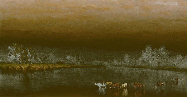 Wall Art - Painting - Cows In A Pond At Sunset by Sanford Robinson Gifford