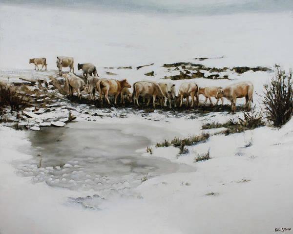 Painting - Cows In The Snow by Bibi Snelderwaard Brion