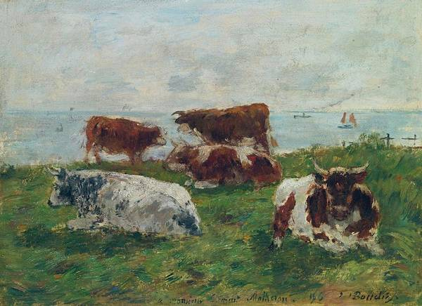 Wall Art - Painting - Cows Near The Sea, 1896 by Eugene Boudin