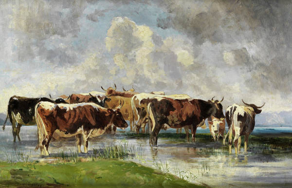 Wall Art - Painting - Cows On Pasture by Friedrich Otto Gebler