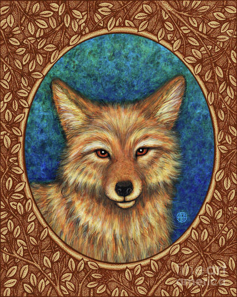 Painting - Coyote Portrait - Brown Border by Amy E Fraser
