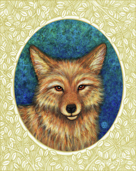 Painting - Coyote Portrait - Cream Border by Amy E Fraser