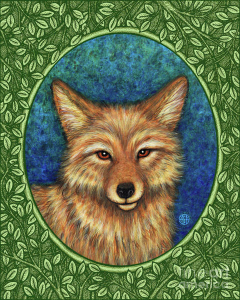 Painting - Coyote Portrait - Green Border by Amy E Fraser