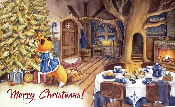 Trimming Painting - Cozy Christmas - Christmas Eve -  by Ema Malyauka