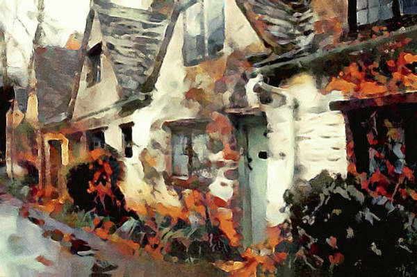 Mixed Media - Cozy Cottage Row Homes by Susan Maxwell Schmidt