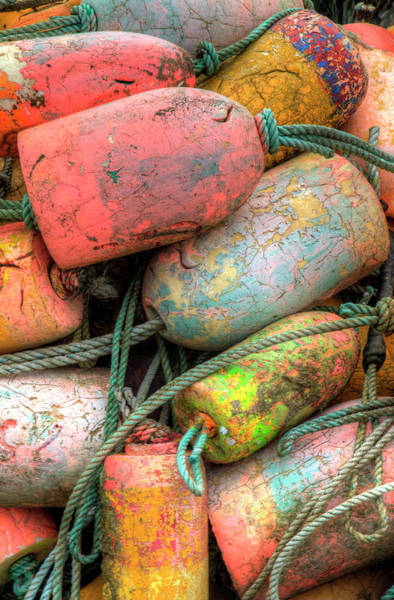 Wall Art - Photograph - Crab Pot Floats In Orange Stored by Darrell Gulin