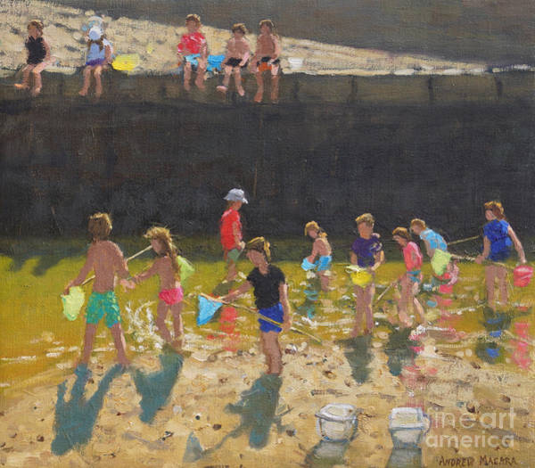 Wall Art - Painting - Crabbing In The Harbour, Bude, Cornwall by Andrew Macara