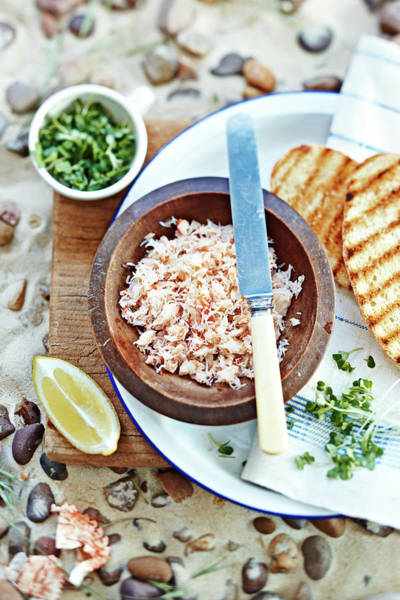 Napkin Photograph - Crabmeat In Bow With Bread On Beach by Martin Poole