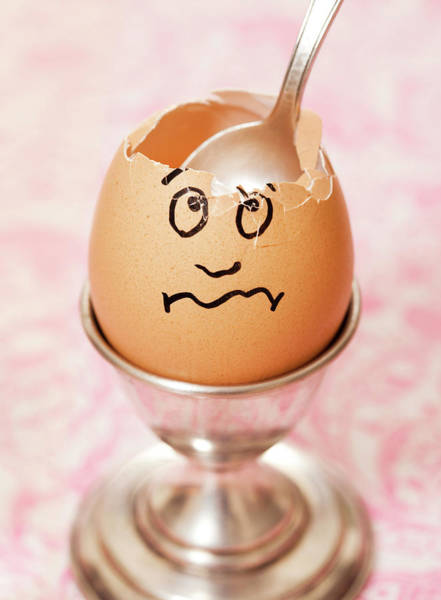 Break Up Photograph - Cracked Egg With Face Drawn On It by David Malan